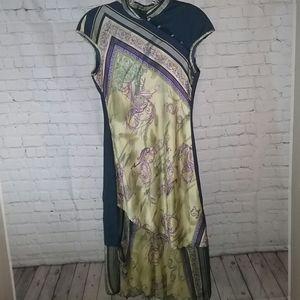 Anthropologie Anac Asian Motif Silk Dress Sz. S